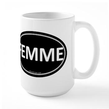 FEMME Black Euro Oval Large Mug