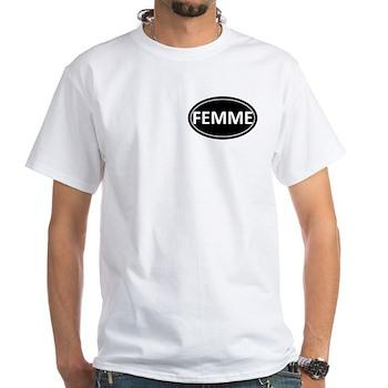 FEMME Black Euro Oval White T-Shirt