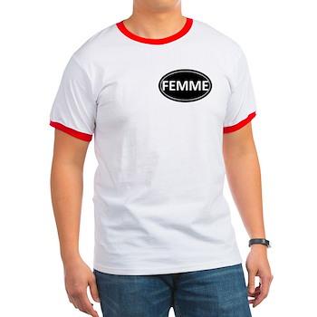 FEMME Black Euro Oval Ringer T