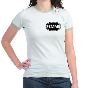 FEMME Black Euro Oval Jr. Ringer T-Shirt