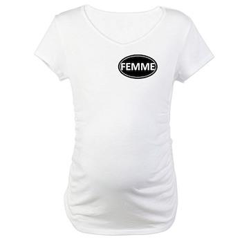 FEMME Black Euro Oval Maternity T-Shirt