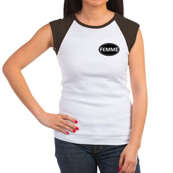 FEMME Black Euro Oval Women's Cap Sleeve T-Shirt