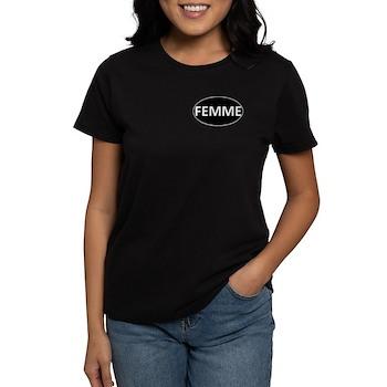 FEMME Black Euro Oval Women's Dark T-Shirt