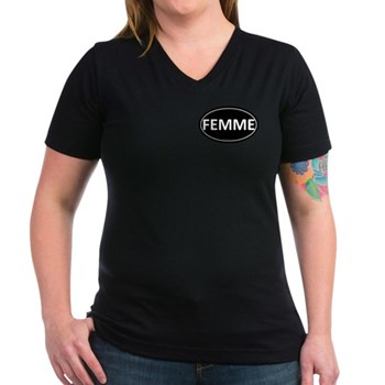 FEMME Black Euro Oval Women's V-Neck Dark T-Shirt