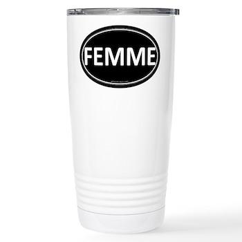 FEMME Black Euro Oval Stainless Steel Travel Mug