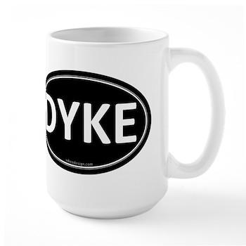 DYKE Black Euro Oval Large Mug