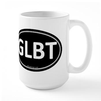 GLBT Black Euro Oval Large Mug