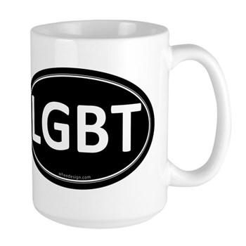 LGBT Black Euro Oval Large Mug