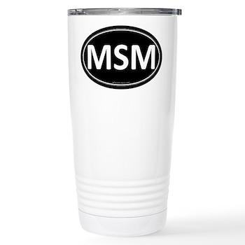 MSM Black Euro Oval Stainless Steel Travel Mug