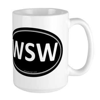 WSW Black Euro Oval Large Mug
