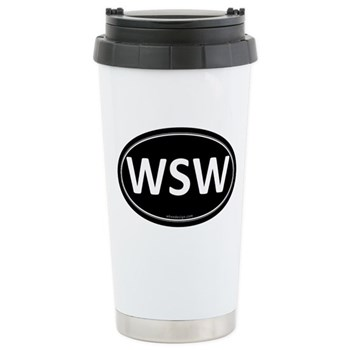 WSW Black Euro Oval Stainless Steel Travel Mug
