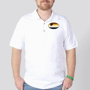 Oval Bear Pride Flag Golf Shirt