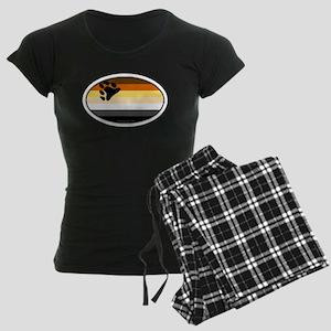 Oval Bear Pride Flag Women's Dark Pajamas