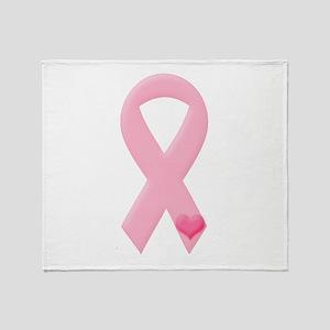 Pink Ribbon & Heart Throw Blanket