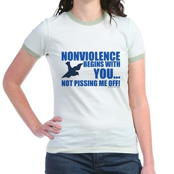 Nonviolence Begins with You... Jr. Ringer T-Shirt