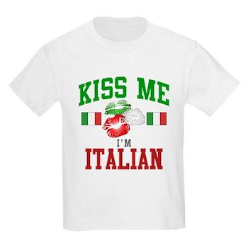 Kiss Me I'm Italian Kids Light T-Shirt