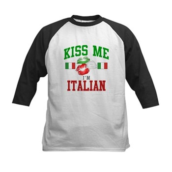 Kiss Me I'm Italian Kids Baseball Jersey