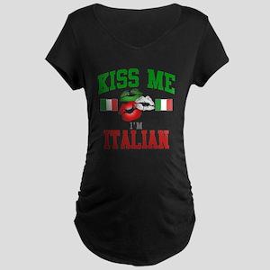 Kiss Me I'm Italian Maternity Dark T-Shir