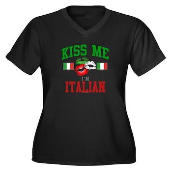 Kiss Me I'm Italian Women's Plus Size V-N