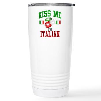 Kiss Me I'm Italian Stainless Steel Travel Mug