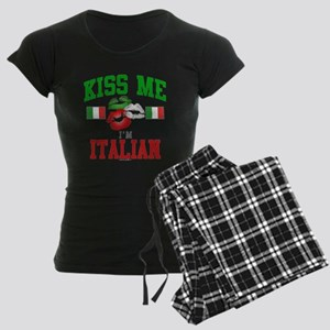 Kiss Me I'm Italian Women's Dark Pajamas