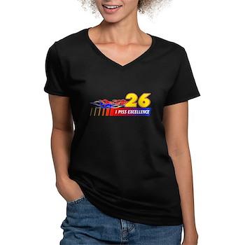 I Piss Excellence Women's V-Neck Dark T-Shirt
