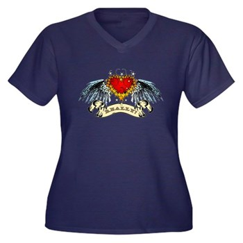 Really? Winged Heart Women's Plus Size V-Neck Dark