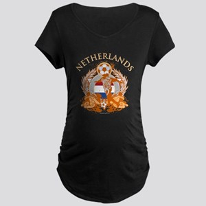 Netherlands Soccer Maternity Dark T-Shirt