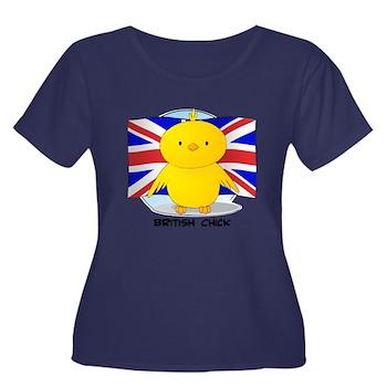 British Chick Women's Plus Size Scoop Neck Dark T-