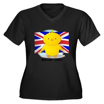 British Chick Women's Plus Size V-Neck Dark T-Shir