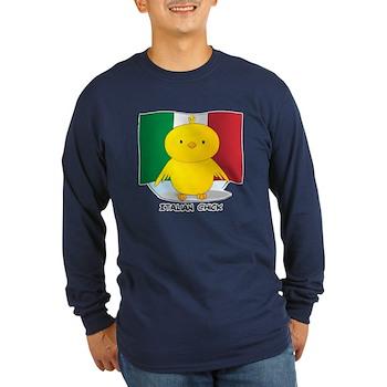 Italian Chick Long Sleeve Dark T-Shirt