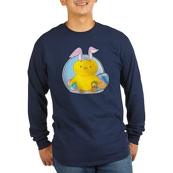 Easter Bunny Chick Long Sleeve Dark T-Shirt