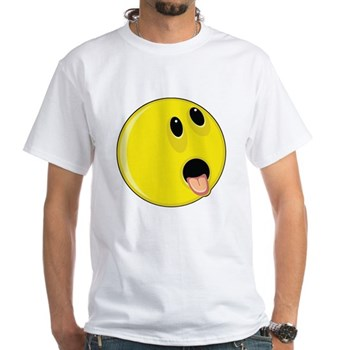 Smiley Face - Hungry Up & Left White T-Shirt