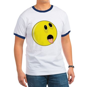 Smiley Face - Hungry Up & Left Ringer T