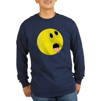Smiley Face - Hungry Up & Left Long Sleeve Dark T-