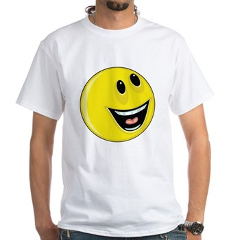 Smiley Face - Laughing Looking Up & Left White T-S