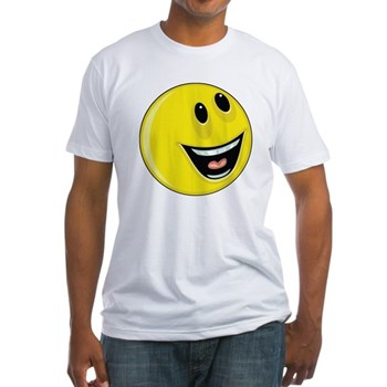Smiley Face - Up & Left Fitted T-Shirt
