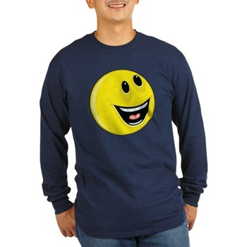 Smiley Face - Up & Left Long Sleeve Dark T-Shirt