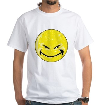 Smiley Face - Distressed Yellow Devil White T-Shir