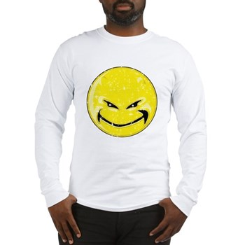 Smiley Face -Distressed Devil Long Sleeve T-Shirt