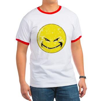 Smiley Face -Distressed Devil Ringer T