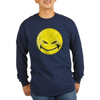 Smiley Face -Distressed Devil Long Sleeve Dark T-S