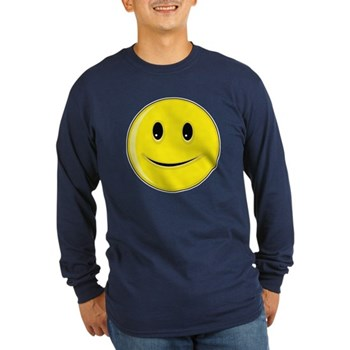 Smiley Face - Happy Smile Long Sleeve Dark T-Shirt