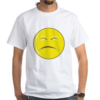 Smiley Face - Sad White T-Shirt