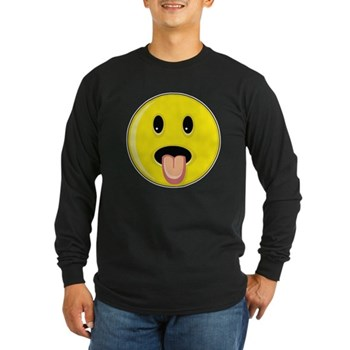Smiley Face - Tongue Out Long Sleeve Dark T-Shirt