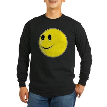 Smiley Face - Looking Right Long Sleeve Dark T-Shi