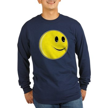 Smiley Face - Looking Left Long Sleeve Dark T-Shir