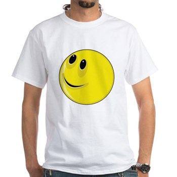 Smiley Face - Looking Up & Right White T-Shirt