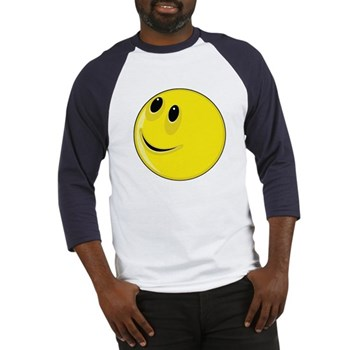Smiley Face - Looking Up & Right Baseball Jersey