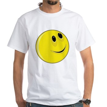 Smiley Face - Looking Up & Left White T-Shirt
